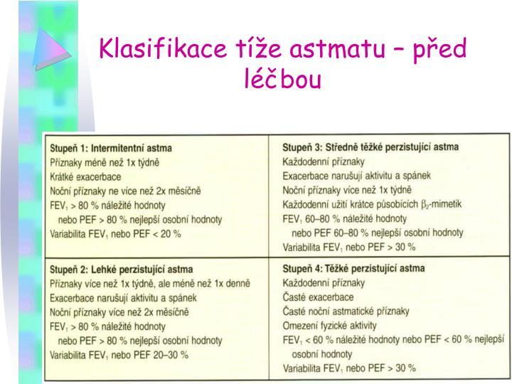 Klasifikace tíže astmatu – před léčbou