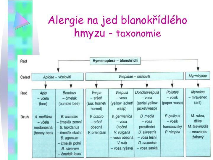 Alergie na jed blanokřídlého hmyzu -