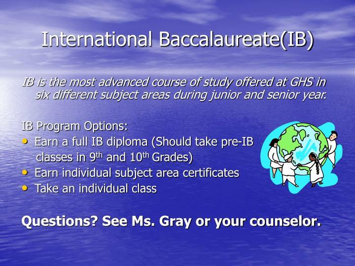 International Baccalaureate(IB)