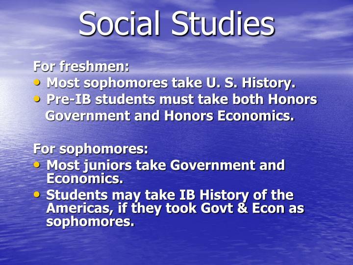 For freshmen: