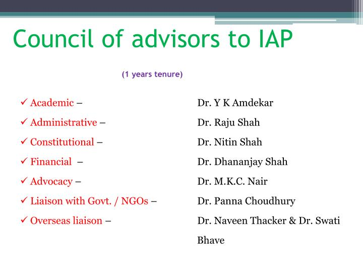 Council of advisors to IAP
