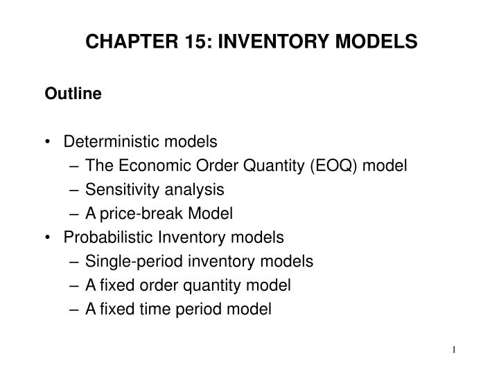 Chapter 15 inventory models