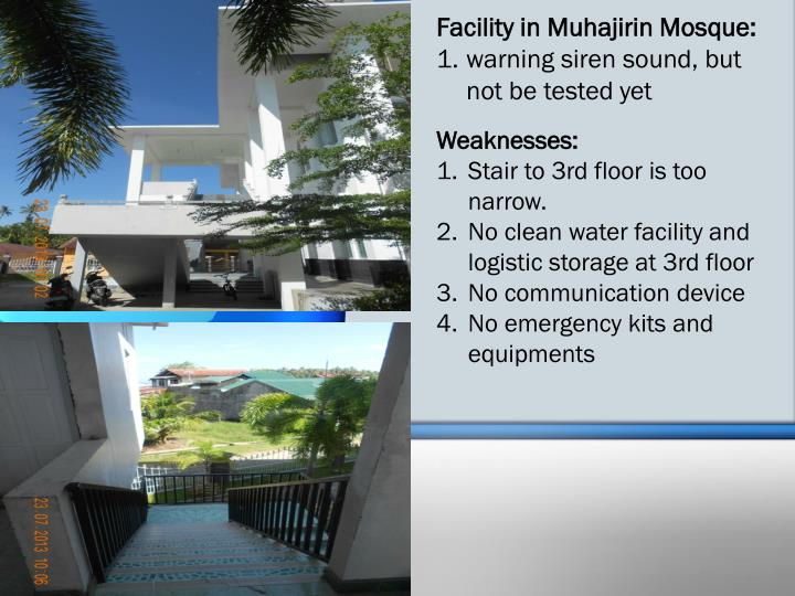 Facility in Muhajirin Mosque: