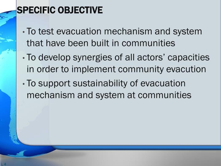 SPECIFIC OBJECTIVE