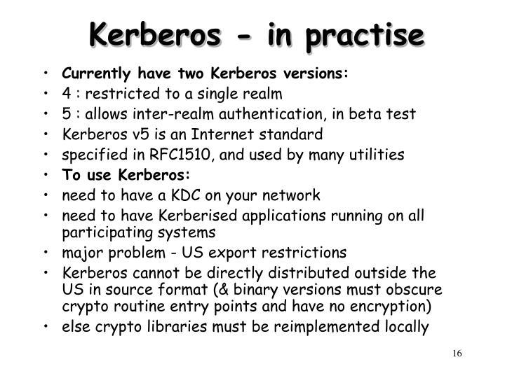 Kerberos - in practise