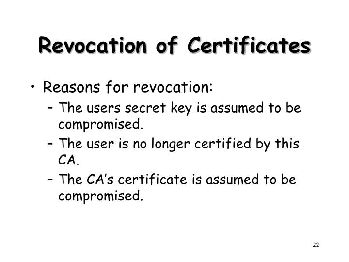 Revocation of Certificates