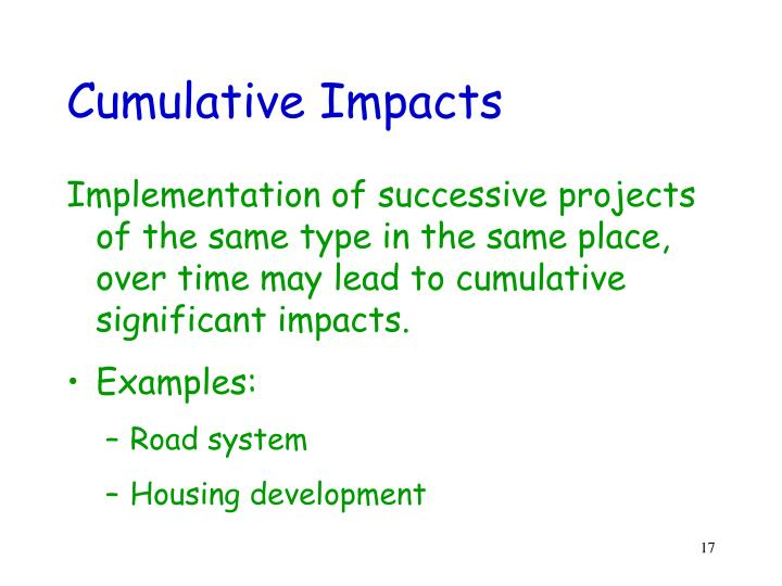Cumulative Impacts
