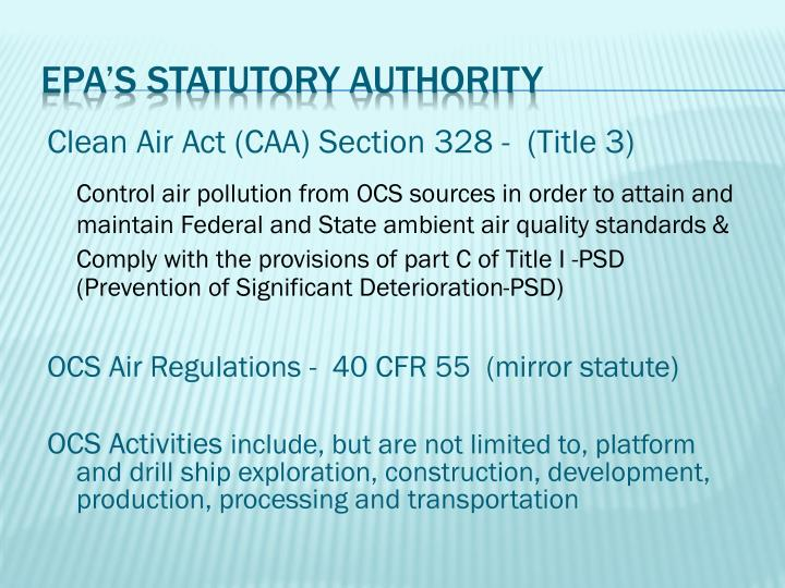 Epa s statutory authority