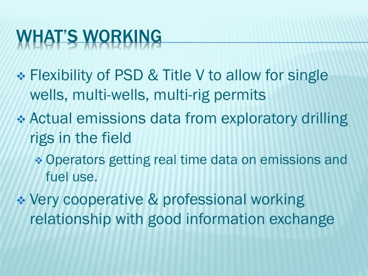 Flexibility of PSD & Title V to allow for single wells, multi-wells, multi-rig permits