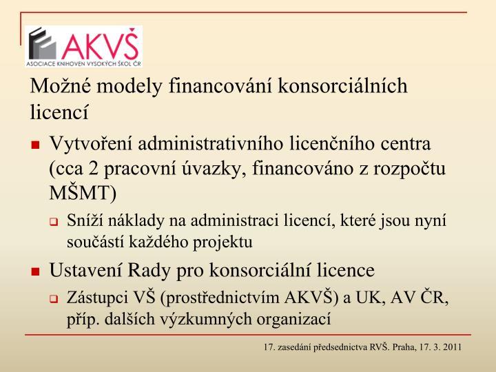 Možné modely financování konsorciálních licencí