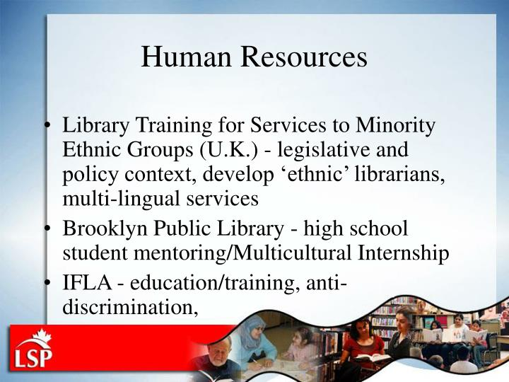 Library Training for Services to Minority Ethnic Groups (U.K.) - legislative and policy context, develop 'ethnic' librarians, multi-lingual services