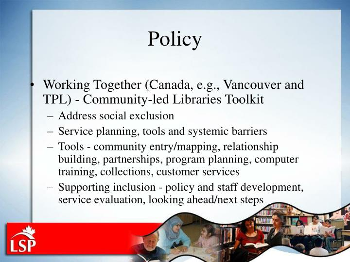 Working Together (Canada, e.g., Vancouver and TPL) - Community-led Libraries Toolkit