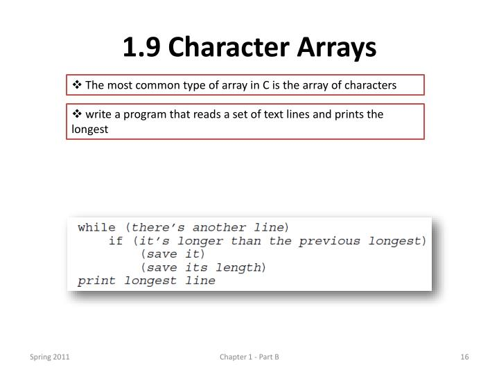 1.9 Character Arrays