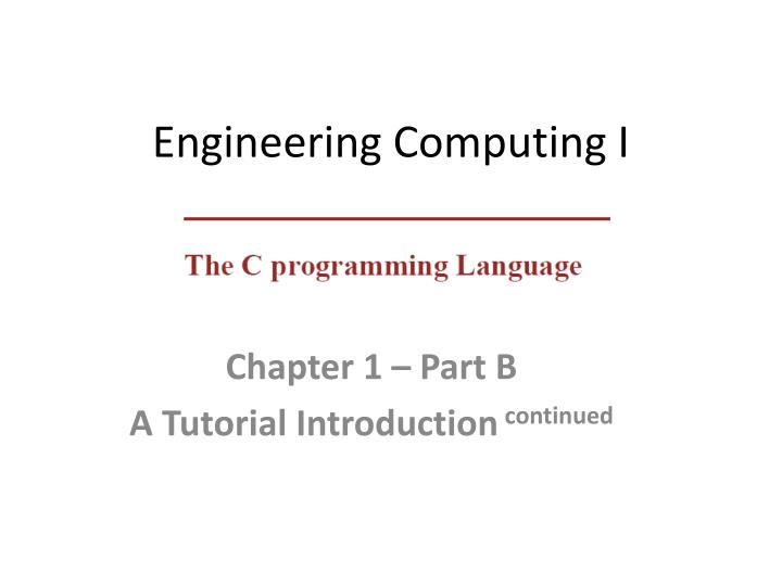 engineering computing i