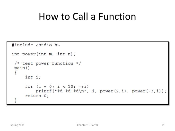 How to Call a Function