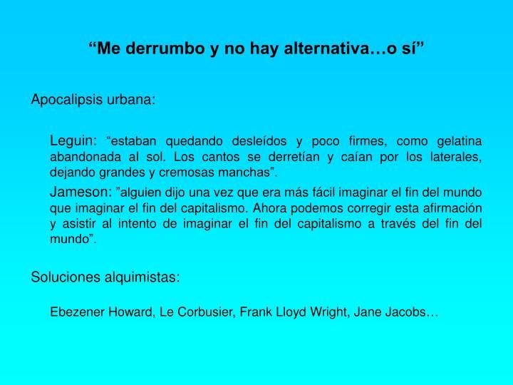 """""""Me derrumbo y no hay alternativa…o sí"""""""