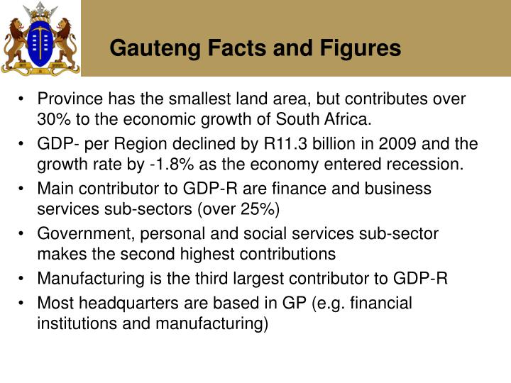 Province has the smallest land area, but contributes over 30% to the economic growth of South Africa.