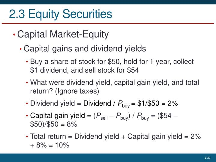 2.3 Equity Securities