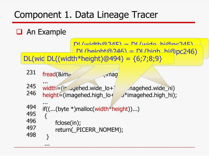 Component 1. Data Lineage Tracer