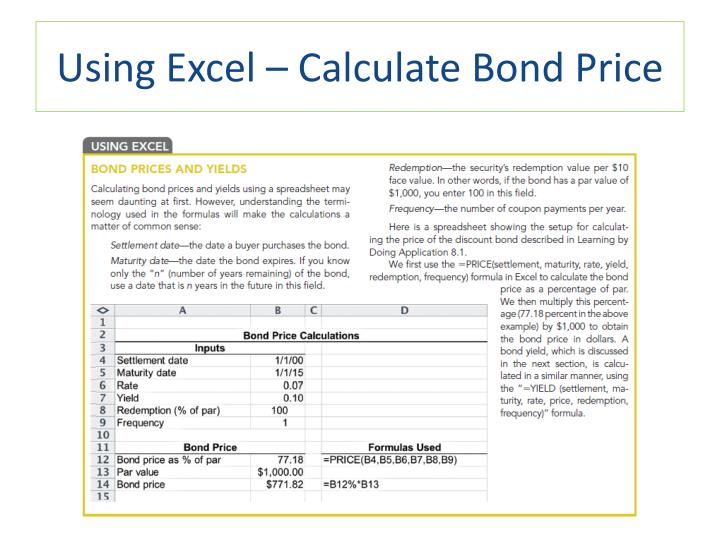 Using Excel – Calculate Bond Price