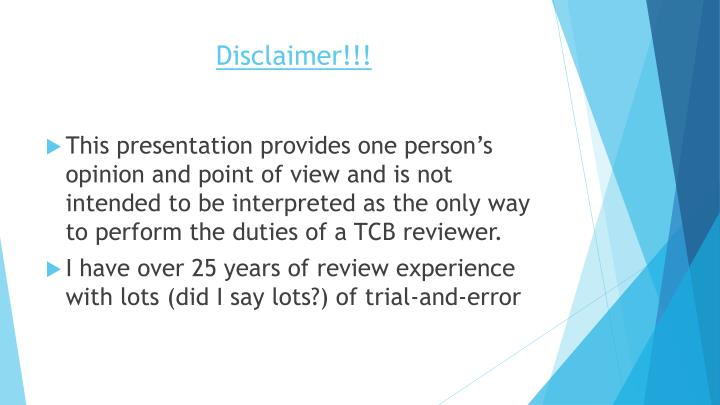 Disclaimer!!!