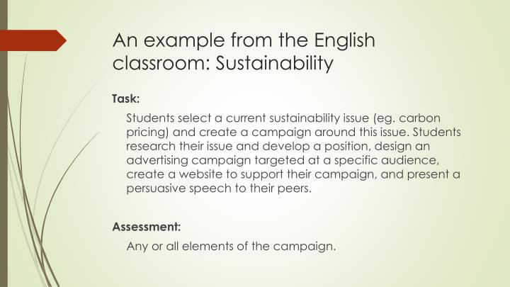 An example from the English classroom: Sustainability