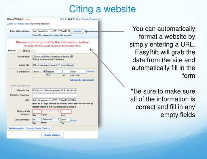 Citing a website