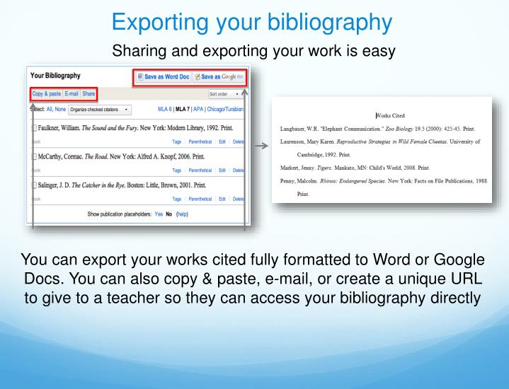 Exporting your bibliography