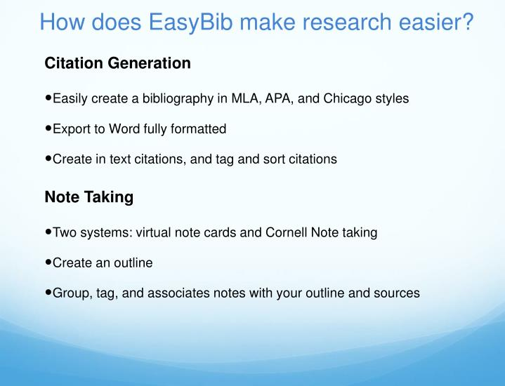 How does easybib make research easier