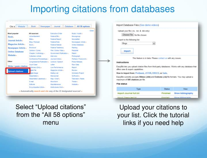 Importing citations from databases