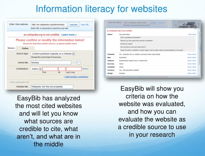Information literacy for websites
