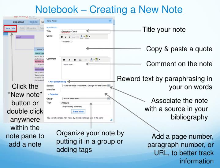 Notebook – Creating a New Note