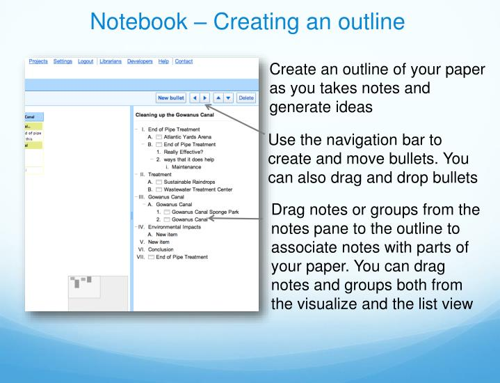Notebook – Creating an outline
