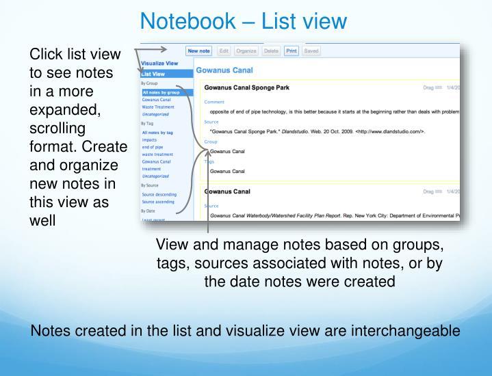 Notebook – List view