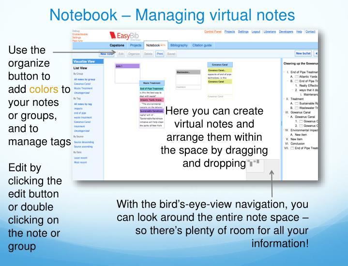 Notebook – Managing virtual notes