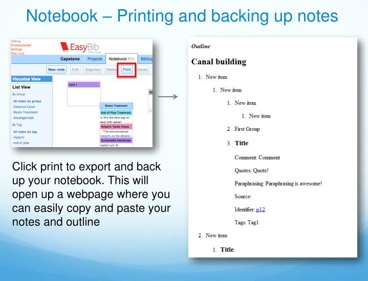 Notebook – Printing and backing up notes