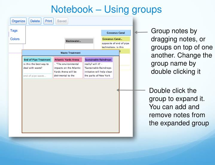 Notebook – Using groups