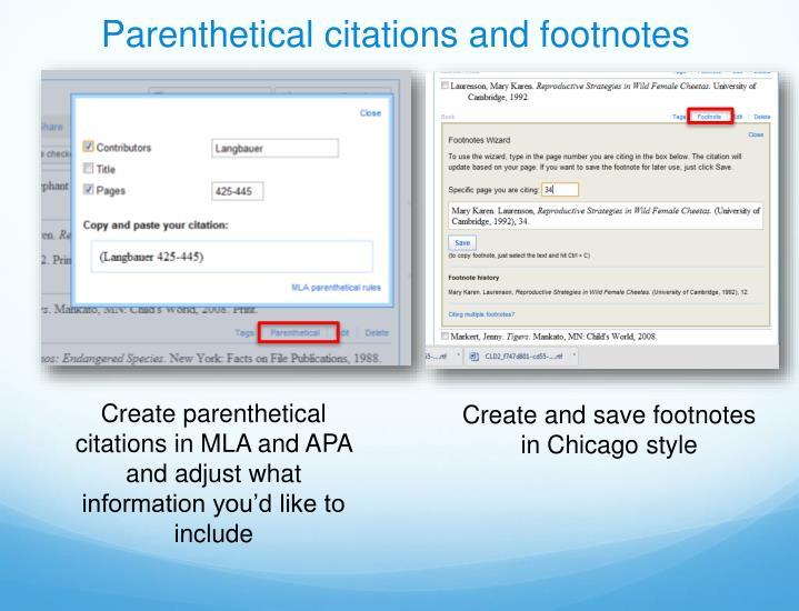 Parenthetical citations and footnotes