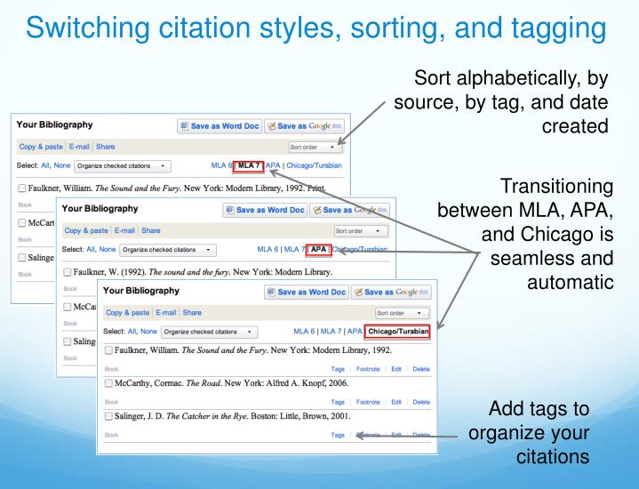 Switching citation styles, sorting, and tagging