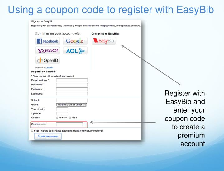 Using a coupon code to register with EasyBib