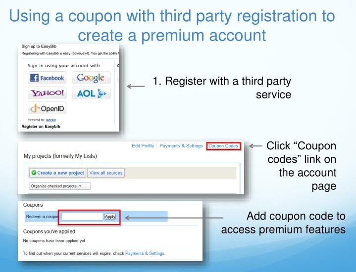 Using a coupon with third party registration to create a premium account