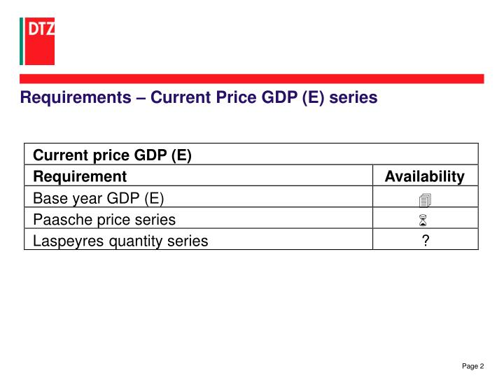 Requirements – Current Price GDP (E) series