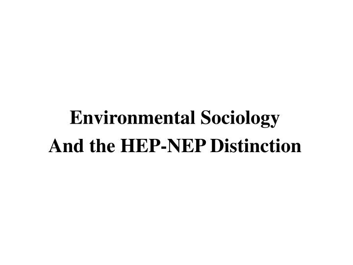 Environmental Sociology