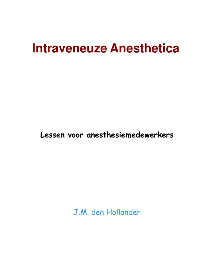 Intraveneuze anesthetica
