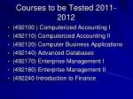 courses to be tested 2011 2012