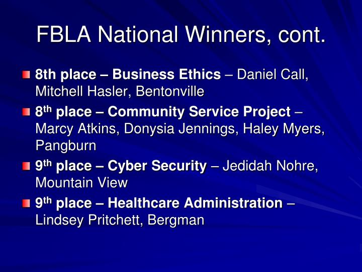 FBLA National Winners, cont.