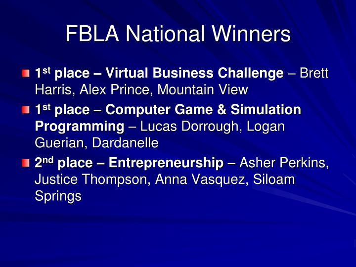 FBLA National Winners