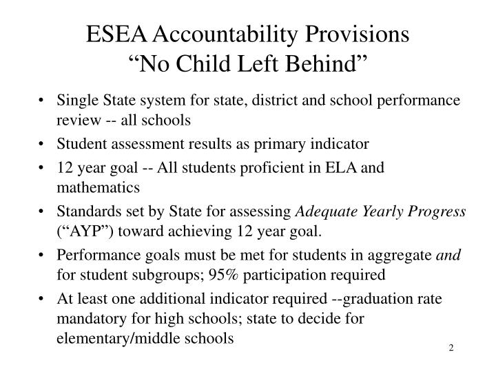 Esea accountability provisions no child left behind