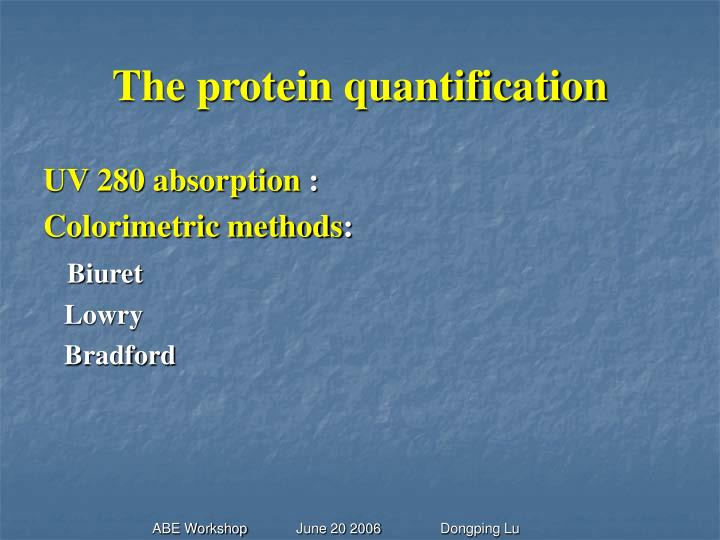 The protein quantification