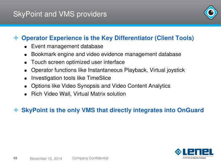 SkyPoint and VMS providers